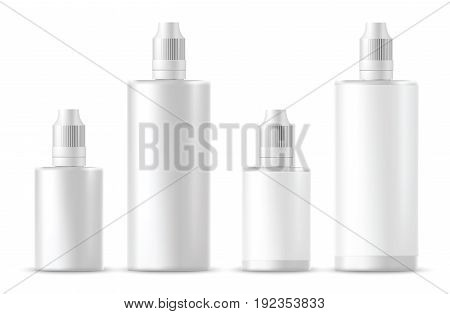 Set of Realistic white cosmetic bottles. Vector illustration