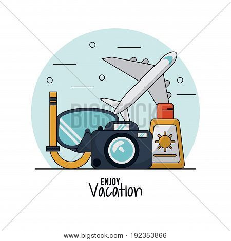 white background of enjoy vacation with snorkel and airplane and sunblock and photo camera vector illustration