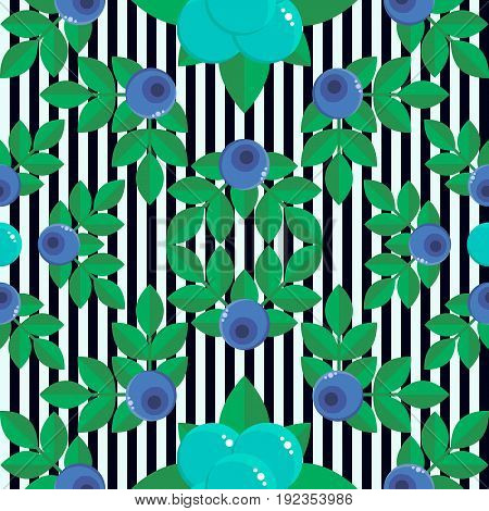 vector illustration. seamless pattern. background with forest berries bilberry and stone bramble, blue with green leaves. stripe. for textile, wallpaper, covers, surface, print, gift wrap