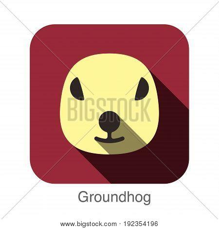 Groundhog animal face flat design, vector illustration