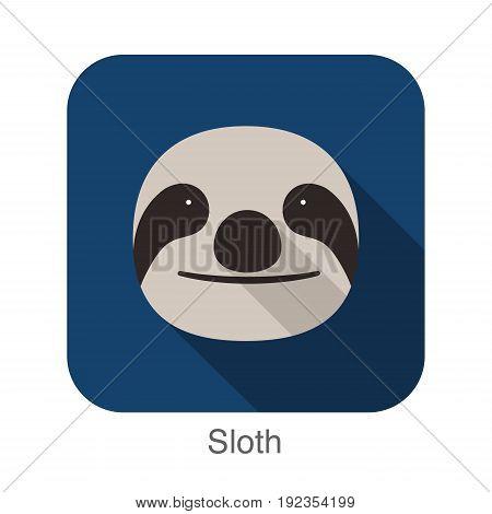 Sloth cartoon face flat icon design, vector illustration