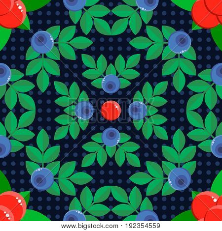 vector illustration. seamless pattern. background with forest berries bilberry and stone bramble blue and red with green leaves. polka dot. for textile, wallpaper, covers, surface, print, gift wrap.