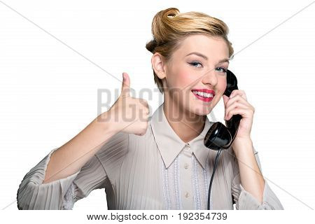 Vintage woman phone speaking thumb up color background