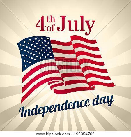 Vintage style american Independence Day design - banner or poster for web print and other projects USA waving flag 4th of july celebration vector template.