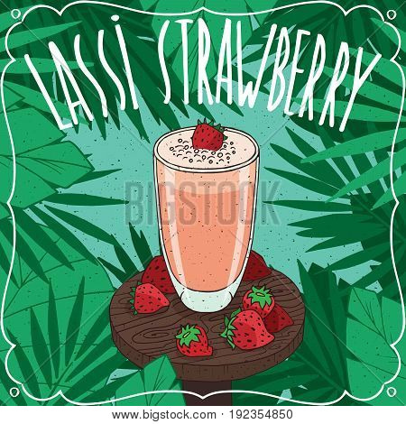 Strawberry Indian Drink Lassi With Fresh Juice