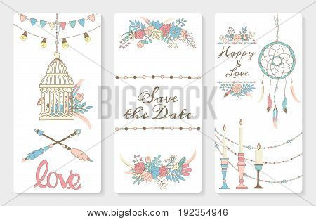 Wedding invitation card suite with flowers feathers and boho elements