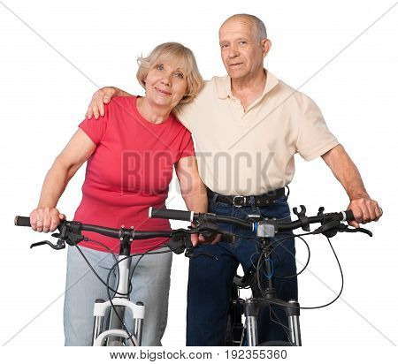 Couple elderly bicycles two people senior adult heterosexual couple fun