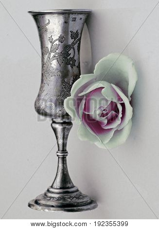 Cup and rose. Engraved silver-nickel. Antiques engraving