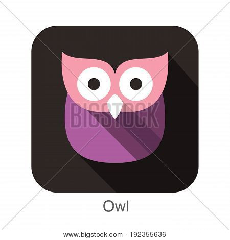 owl bird flat icon series, vector illustration