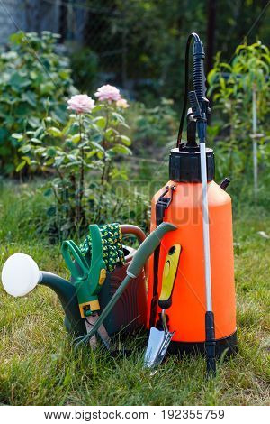 Fertilizer pesticide garden sprayer watering can and some garden tools on lawn with green grass