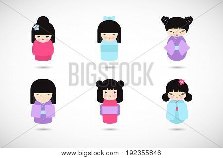 Kokeshi dolls vector flat icon set Flat design icon collection of kawaii Japanese girls Vector illustration