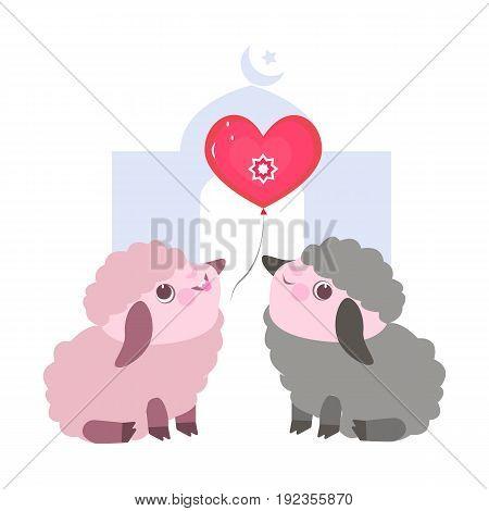 Vector flat illustration with cute little cartoon sheeps. Very cheerful lamb. Thoughtful lamb. Funny lamb. Eid al Adha Sheep.