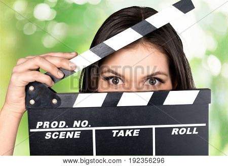 Young board woman film clap clapper clapperboard