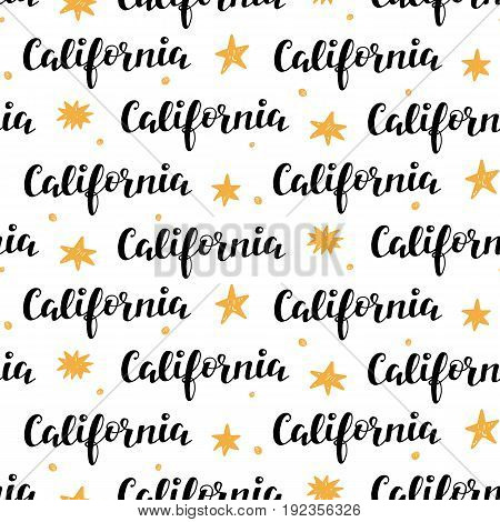 Seamless Pattern with California modern calligraphy. Vector illustration, card, poster, banner, brochure trendy design