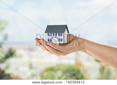 Holding model hand house closeup business human
