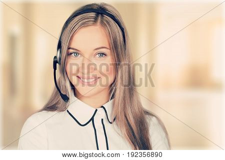 Female young service phone manager white background
