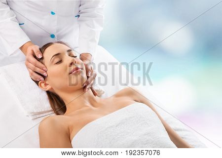 Young joy head woman enjoying massage color