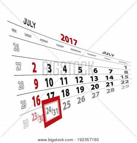 July 31, Highlighted On 2017 Calendar.