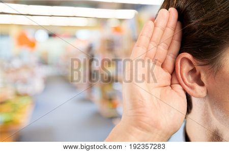 Business man businessman ear holds white single