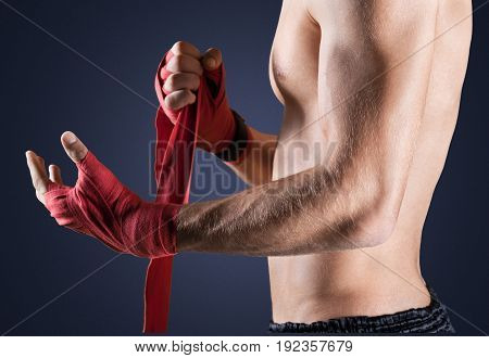 Portrait man hands boxing sport competition red