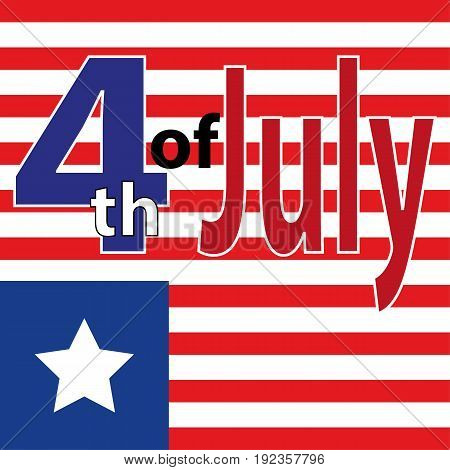 Happy Independence Day Of Usa. Fourth Of July Poster. July 4Th Banner. July Fourth Label. July Fourt