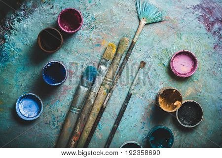 Art paint artist brushes cans colors group