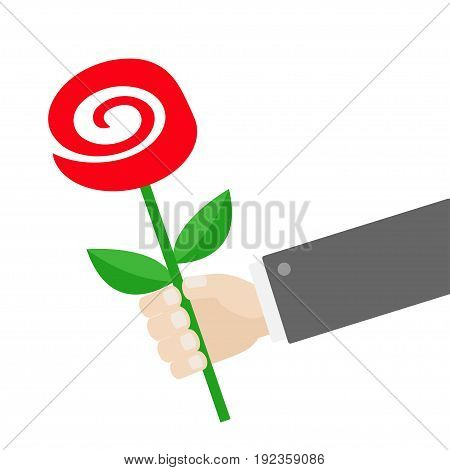 Businessman hand holding red rose flower. Giving gift concept. Cute cartoon character. Black suit. Greeting card. Flat design. White background. Isolated. Vector illustration
