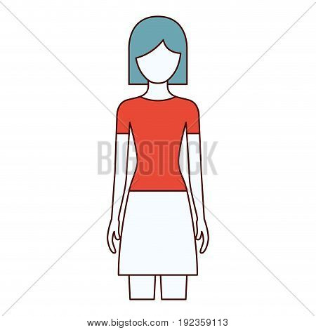 color sections silhouette faceless front view woman with skirt and short hair vector illustration