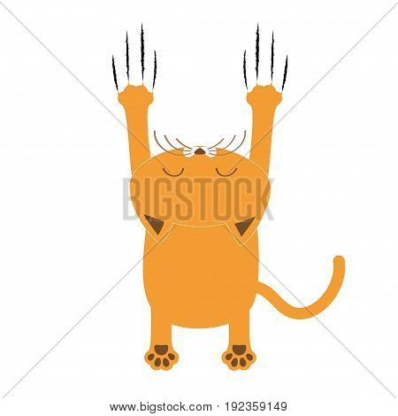 Cartoon red orange cat. Back view. Red bloody claws animal scratch scrape track. Cute funny character with face. White background. Isolated. Flat design. Vector illustration