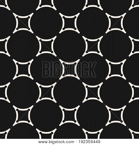Vector geometric monochrome texture with circular lattice, smooth shapes, thin lines. Subtle dark abstract background. Seamless pattern, design pattern, decor pattern, fabric pattern, cloth pattern, textile pattern, cover pattern.