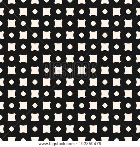 Vector simple geometric minimalist texture with small smooth shapes, circles and squares. Seamless pattern. Abstract dark repeat geometrical background. Design pattern, fabric pattern, digital pattern, web pattern.