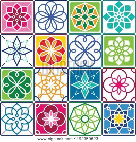 Portuguese tiles pattern - Azulejo, seamless geometric design colorful set