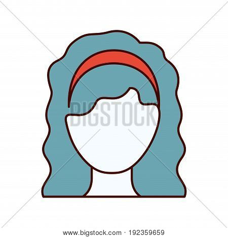 color sections silhouette faceless woman with wavy medium hairstyle and bow lace vector illustration