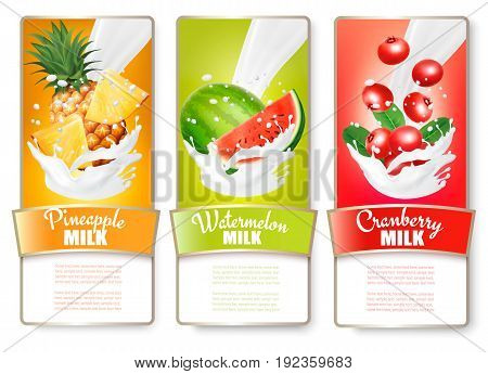 Set of three labels of of fruit in milk splashes. Pineapple watermelon granberry. Vector.