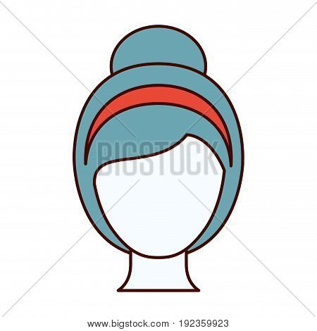 color sections silhouette faceless woman with collected hairstyle and bow lace vector illustration