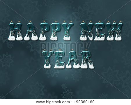 Word of the new year. Letters hanged on the wall. 3D.