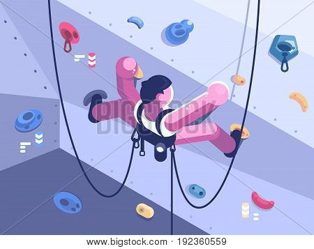 Man climber climbs difficult route on artificial wall in competitions. Vector illustration