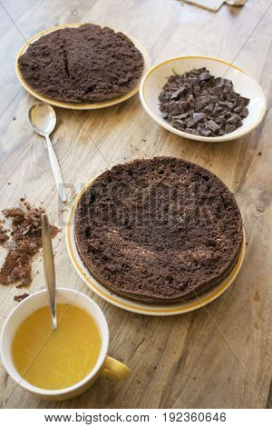 step of preparation of a chocolate sponge cake