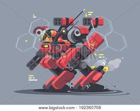 Military exoskeleton for soldier. Modern developments of army technology. Vector illustration