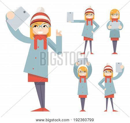Cute Girl Geek Hipster Smartphone Photo Casual Selfie Character Icons Cartoon Flat Design Vector illustration