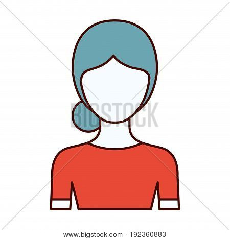 color sections silhouette of faceless half body woman with bun collected hairstyle vector illustration