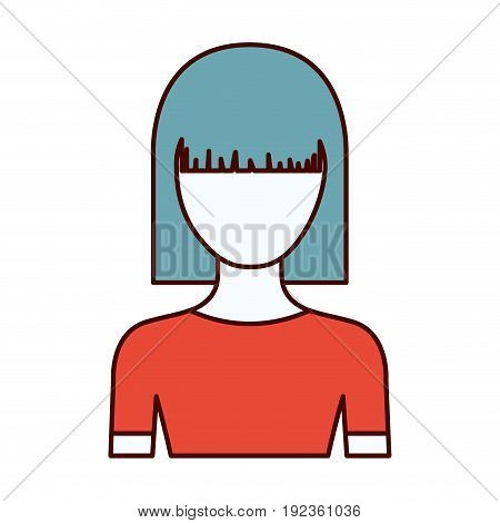 color sections silhouette of faceless half body young woman with straight medium hairstyle vector illustration