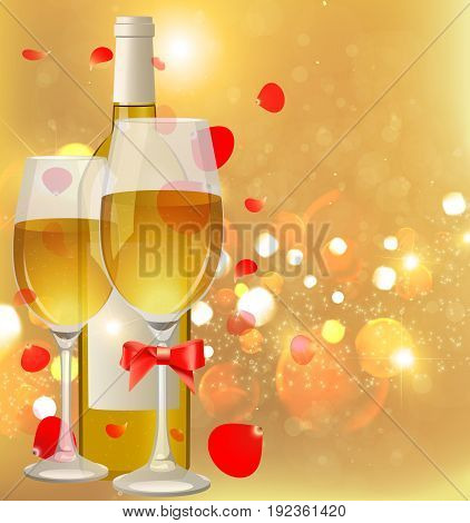 Glasses and bottle of wine. A bottle of champagne and glasses. White Wine.