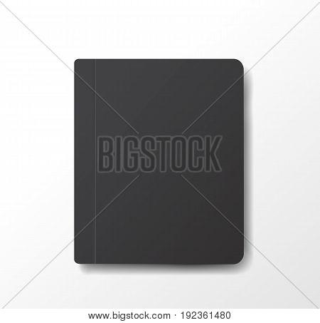 Black notebook template vector Leaflet illustration flat background