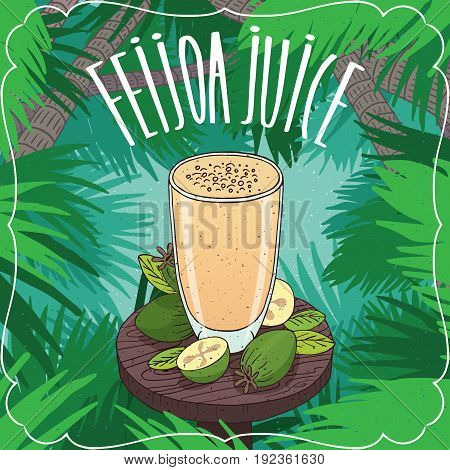 Fresh Pineapple Guava Or Feijoa Juice In Glass