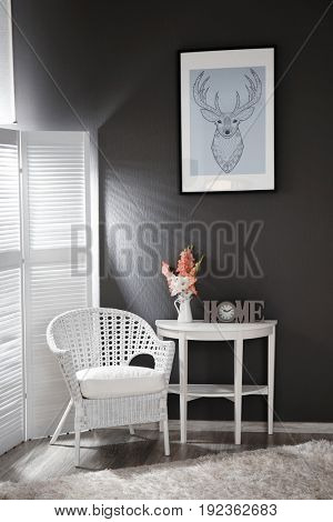 Interior design of room in grey-white colours