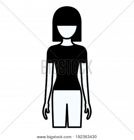 black silhouette thick contour of faceless full body woman with pants and straight short hair vector illustration