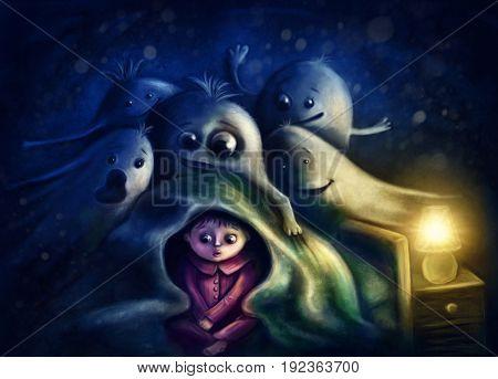 Little boy under blanket afraid of ghosts