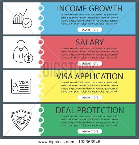 Business web banner templates set. Income growth chart, businessman, work visa, deal protection shield with handshake. Website color menu items with linear icons. Vector headers design concepts