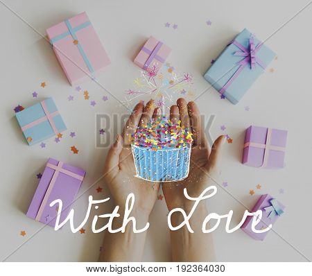 Aerial view of hands with gift boxes party anniversary